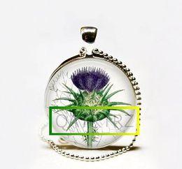 Wholesale Botanical Jewelry - Wholesale Purple Thistle Necklace,Botanical Flower Jewelry,Vintage Botany Nature Art Pendant Necklace