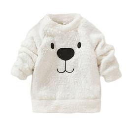 encantadora ropa al por mayor Rebajas Venta al por mayor- Ropa de bebé Primavera invierno mamelucos manga larga encantador oso peludo abrigo blanco