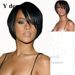 Wholesale Cheap Style Hair Wig - Fashion Rihanna Cool Short Hairstyle Wigs Bestseller Wig Black Straight Celebrity Hairstyle Charming Style Synthetic Cheap Hair Wig Y demand