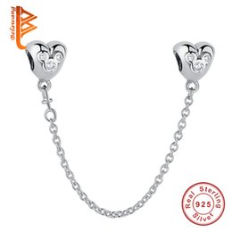Wholesale Making Cartoons - BELAWANG for Women 925 Sterling Silver Clear CZ Heart Shape Safety Chain Cartoon Charm Beads fit Pandora Charm Bracelet DIY Jewelry Making