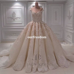 Wholesale Gorgeous Wedding Ball Gowns - 2018 New Gorgeous Ball Gown Wedding Dresses With 3D Flora Appliques Off The Shoulder Lace Appliques Royal Princess Bridal Gown Custom Made