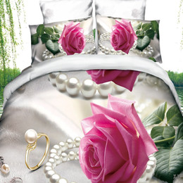 Wholesale King Style Logo - Wholesale-Comforter Linen King Full Size Duvet Cover Sheet Pillowcase 3DFlower Pattern Linen Brand LOGO Bedding 3D Bedding Set Bedclothes