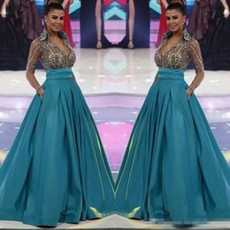 Wholesale Pocket World - Hunter Miss World Long Sleeve Prom Dresses 2017 New Sheer V-Neck Beading Crystals Pageant Dress with Pockets Women Formal Wear Evening Gown