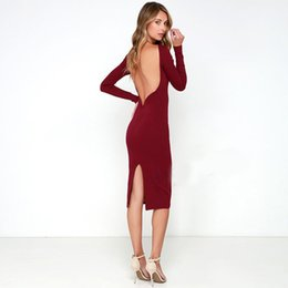 Wholesale Womens Tight Dresses - Womens Clothing Summer Dresses One's Morality Split Package Buttocks Tight Dress Fashion Sexy Round Collar Backless Dres