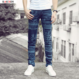 Wholesale Skinny Jeans Korean Style - Wholesale-Printed stretch blue jeans trousers Korean club decoration body feet influx of men fall and winter 2016 men pants