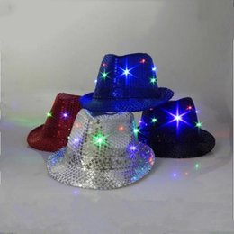 Wholesale Led Flashing Hats - New Arrival LED Sequin Hat Super Cool Flash Sequin Hats Jazz LED Cap Jazz Luminous Hats LED Christmas Valentine's Day Halloween Party Caps