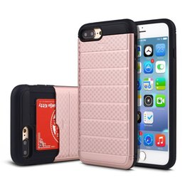 Wholesale Pocket Pc Wallet - HOTSELL For Samsung Galaxy S8 Case PC Silicon Hybrid Slide Cover Card Holder Slot Phone Cover For iphone 6 6s 7Plus Galaxy S6 S7 S8 Edge