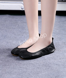 Wholesale Used Leather Shoes - Free shipping !Comfort colored women foldable flat leather ballerina shoes soft ballet shoes for daily use