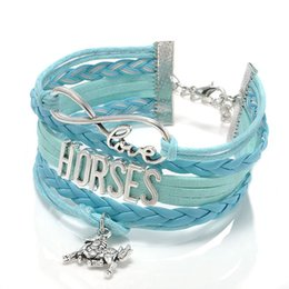 Wholesale Metal Wristbands - Fashion Jewelry high quality Handmade unisex Barcelet horse Metal Plate decorations Charms 5 color Braided Wristband Bracelets