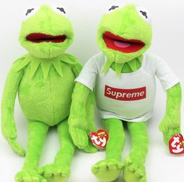 Wholesale Cheap Stuffed Toys - Cheap sales Sesame Street The Muppets Kermit Stuffed Plush Dolls Toys with T shirt Frog plush toy doll with iron wire 40cm