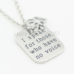 "Wholesale D Tech - 2016hand stamped""I speak for those who have no voice""paw print necklace veterinary vet tech animal rescue veterinarian dog lover"