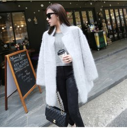 Wholesale Long Pure Cashmere Coat Women - Wholesale- genuine mink cashmere sweater women pure cashmere cardigan knitted mink jacket fashion winter long fur coat free shipping S125