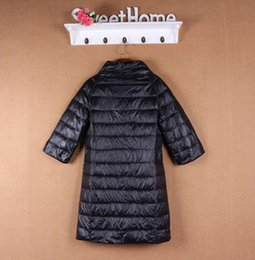 Wholesale Three Quarter Sleeve Down Jackets - 2017 Autumn and winter women down jacket Women's stand collar popper front fly three quarter sleeve medium-long thin down coat