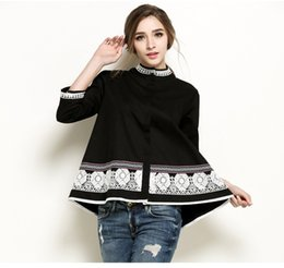 Wholesale Three Quarter Sleeve Floral Blouse - 2017 Spring Women Embroidery Lace Tops Blouse Floral Three Quarter Shirt National Tops Casual Cotton Blouses Plus Size XL-5XL