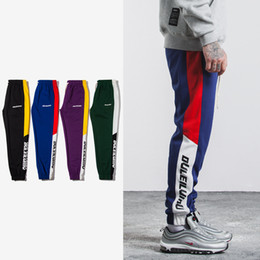Wholesale full pockets - SNAP & STRAP New Justin Bieber FOG style Autumn Mens Sweatswear jogger Pants Printing Side Stripe Pockets Men Vintage Sweatpants