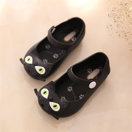 Wholesale Cat Pattern Shoes - New mini sed shoes kids crystal jelly sandals cat shoe girl child retail wholesale children beach sandals Free Shipping