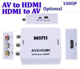 Wholesale Hdmi Av Signal - 50pcs AV to HDMI 1080P AV2HDMI Mini AV to HDMI Converte Signal Converter for TV, VHS VCR, DVD Records Chipsets Shown