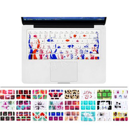 Wholesale keyboard covers macbook air - Silicone Flower Decal Rainbow Keyboard Cover Keypad Skin Protector For Apple Mac Macbook Pro 13 15 17 Air 13 Retina 13 US OEM