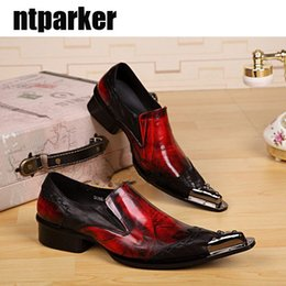 Wholesale British Size 12 - POP Fashion red Genuine leather man's Shoes Ponited iron Toe casual British Style Man Dress shoes, Big size 12