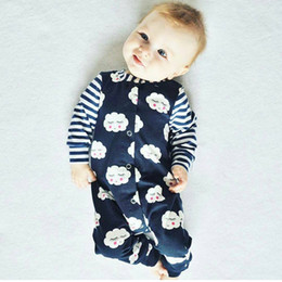 Wholesale Onesies Tutus - ins hot sale infant baby boys girls little cloud print rompers newborn toddlers navy striped onesies cotton jumpsuit