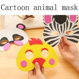 Wholesale Dress Up Costumes For Kids - Wholesale- New Cartoon Animals EVA Mask Upper Half Face Party for Kids Birthday Party Favors Dress Up Costume Zoo Jungle Party Supplies