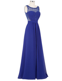 Wholesale Real Stone Flooring - Lace Prom Dresses Long Royal Blue Green Black White Evening Dress with Stones Vestido de Festa Chiffon Prom Dresses