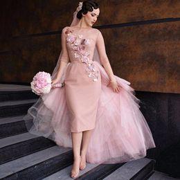 Wholesale Knee Length Chic Wedding Dresses - Special Romantic Knee-Length Blush Pink Wedding Dresses 2017 Chic Short Bridal Dress Train Flower Appliques Bridal Dress Gown Tea Length