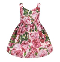 Wholesale Princess Floral Sleeveless Dress - Everweekend Girls Floral Party Dress Summer Suspend Ruffles Princess Dress Sweet Children Holiday Christmas Dresses