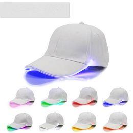 Wholesale novelty fiber optic - 16 Colors Newest Baseball Hats LED Luminous Party Cap Unisex Hockey Snapback Basketball Ball Caps Unisex Fiber Optic Hat CCA6550 300pcs