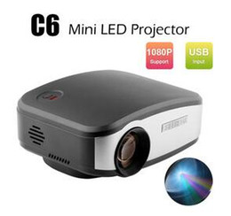 Wholesale Video Meetings - HD 1080P LCD LED Projector C6 Mini Portable Projectors 1200 Lumens Home Theater for Meeting Teaching KTV HDMI USB VGA AV TV Media Player