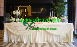 Wholesale Table Cloths Skirts - White Color 100% Ice Silk Table Skirt \ Table Cloth Skirting With Drape Swag