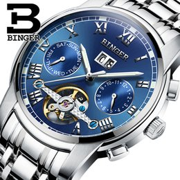 Wholesale Binger Men Watch - Wholesale- Lxuxury Switzerland Brand Watches BINGER Men Automatic Mechanical Watch Steel Strap Skeleton flywheel Design B-8601