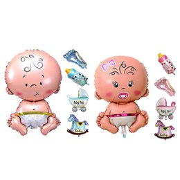 Wholesale Inflatable Baby Shower Decorations - 5Pcs Baby Beauty Shower Foil Balloon Baby Shower Boys Girls Holiday Decorations Foil Balloons Stroller Blue(boy) Pink(girl)