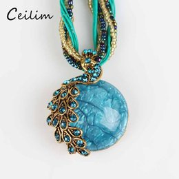 Wholesale Colorful Resin Necklace - New bohemian colorful peacock decoration handmade multilayer chain necklace short clavicle female chain stone pendant necklace for women