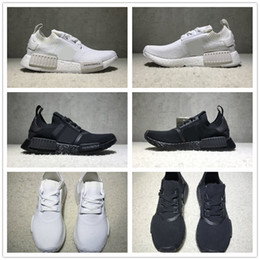 Wholesale Mens Shoes 45 - NMD R1 Primeknit Triple Black White Japan BZ0220 BZ0221 Nmds PK Running Shoes Mens Womens Size EU36-45 Top Quality Real Boost Wholesale