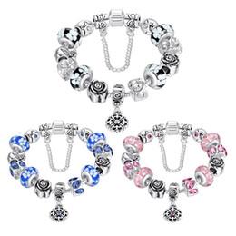 Wholesale Vintage Glass Flower Beads - hot sale fashion jewelry 18cm 20cm DIY beads glass crystasl vintage retro flower charm snake chain bangle bracelet