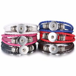 Wholesale Leather Bead Bracelet Wholesale - 2017 DIY Snap Bracelet Pendants Bracelets Leather Interchangeable Button Jewelry Weaving Beads Charms Jewelry 10 styles