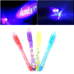 Wholesale Invisible Pens - Wholesale-1PCS Magic 2 in 1 UV Black Light Combo Creative Stationery Invisible Ink Pen Popular Random Color