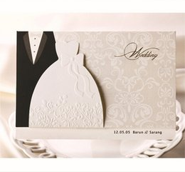 Wholesale Classic Invitations - Wholesale-(10 pieces lot) New Classic Bride And Groom Wedding Invitation Cards White And Black Western Style Wedding Invitation Cards