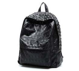 Wholesale Skull Rivets For Leather - Best Selling New Arrival 2017 Men's Skull Backpack School Bag Rivet Vintage Female Bags Ghost Design Backpack For Students