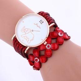 Wholesale Watches Elephant Design - Newest elephant design bracelet watches women ladies leather diamond wristwatch crystal straps flower fashion casual dress quartz watches