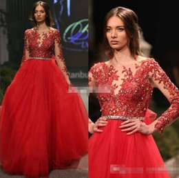 Wholesale Little Queen Gown - Red Ball Gown Long Sleeve Women Evening Dresses Illusion Neck Appliqued Crystals Tulle 2017 Sexy Prom Gowns Pageant Queen Dress Custom Made