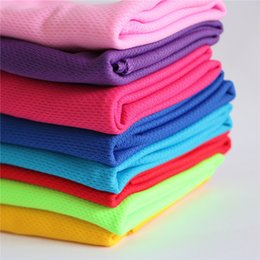 Wholesale pva fiber - 90*35cm Ice Cooling Towel Cold Summer Cool Sports Towels Instant Cooling Dry Single Layer Towel Scarf Soft Breathable Ice Belt For Adult