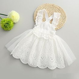 Wholesale Wholesale Fashion Summer For Kids - Hug Me Girls Dress for Kids Clothing 2016 Summer Suspender Lace Tutu Dress Korean Fashion Sleeveless Flowers Princess Party Dress MK-794