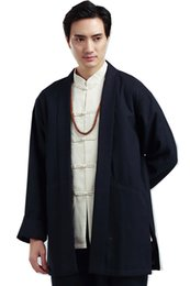 Wholesale Trench Dark Blue - Shanghai Story Men's Long Coat Chinese style single Breasted Trench Coat Solid Long Mens Trench Coat Blend Woolen Chinese Top Dark Blue
