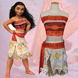 Wholesale Clothing For Family - New Fashion Moana Cosplay Clothing Sets for Adult Women and Girls Also Can Be Family Fitted Mother Daughter Top + Belt + Skirt Grass + Skirt