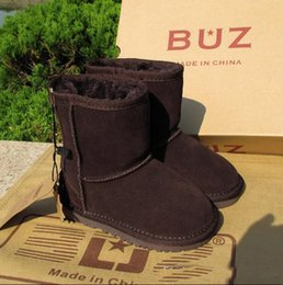 Wholesale Girls Brown Suede Boots - 2017 new Real Australia High-quality Kid Boys girls children baby warm snow boots Teenage Students Snow Winter boots