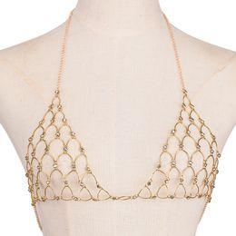 Wholesale Bra Jewelry Accessories - Fashion Accessory Sexy Ladies Beach Bikini Rhinestone Chest Bra Chain Women Copper Necklace Body Jewelry Belly Chains
