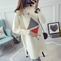 Wholesale Pregnancy Full Dress - Fashion Maternity Sweater Dress Autumn Winter Pregnant Women Knit Dresses Loose Pattern Pullover Sweaters Pregnancy Top Clothing
