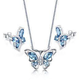 "Wholesale Blue Topaz Necklace Earrings - New Jewelry Set Cute Genuine London Blue Topaz MQ Pear Butterfly Shape Pendant Necklace Chain 18"" for Women Girls"